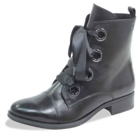 CAPRICE Dark Grey Leather Ankle Boots